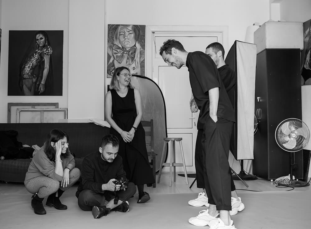 Photograph in studio with models